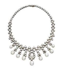 Designed as an old-cut diamond collet fringe and neckchain, suspending ten drop-shaped pearls, circa 1870