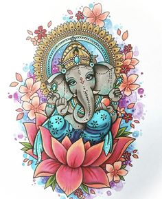 Make this Ganesha Chathurthi 2020 special with rituals and ceremonies. Lord Ganesha is a powerful god that removes Hurdles, grants Wealth, Knowledge & Wisdom. Ganesha Drawing, Ganesha Painting, Ganesha Art, Lord Ganesha, Ganesh Tattoo, Outline Drawings, Art Drawings, Image Mandala