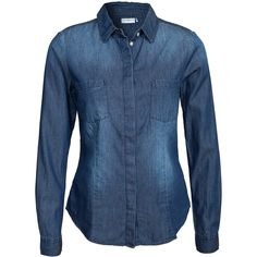 Jacqueline De Yong Scota L/S Denim Shirt ($28) ❤ liked on Polyvore featuring tops, blouses & shirts, dark blue denim, womens-fashion, dark blue shirt, blue denim shirt, tall shirts, denim shirt and shirts & tops