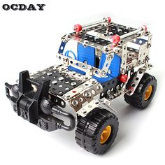 262 Piece/Set Metal Cross-country Vehicle Toy Enlighten Assembly Model Building Kit Blocks Toys Hobbies For Boys Girls Gifts. Metal Model Car Kits, Model Building Kits, Model Cars Kits, Plastic Model Kits, Plastic Models, 3d Building, Jeep Models, Jeep Cars, Diy Toys