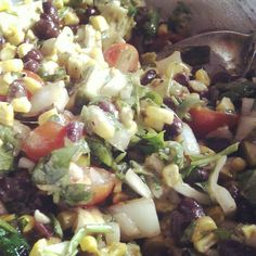 Guy Fieri's Black Bean Avocado Salsa with Corn Recipe - this will be a staple in my house from now on. Amazing!