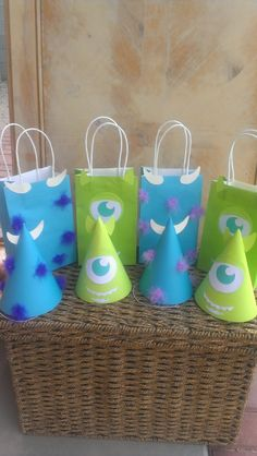 8 Monsters Inc or Monster's University Birthday Party Hats and Bags on Etsy, $20.00