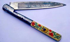 """Museum of artifacts:Corsican vendetta knife with floral detail. The blade reads: """"Che la mia ferita sia mortale"""" - or roughly: """"may all your wounds be mortal"""". State Champs, Pop Punk, Scene Hair, Vendetta, Neck Deep, Knives And Swords, Corsica, Survival Knife, Folding Knives"""
