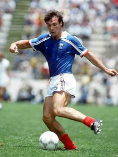 Bruno Bellone of France in action at the 1986 World Cup Finals.