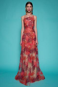 Naeem Khan Thread Work Embroidered Gown