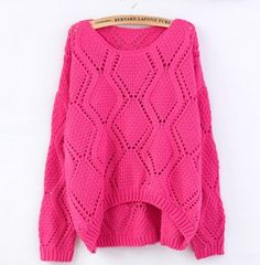 Pink Large Rhombic Hollow Sweet Sweater