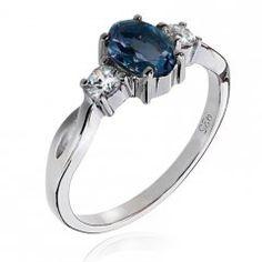 Stříbrný prsten AGLAIA s pravým topazem sky blue Topaz, Engagement Rings, Floral, Blue, Jewelry, Rings For Engagement, Florals, Wedding Rings, Jewlery