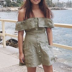 @thepedestrianstudio Off-The-Shoulder Dress - $150 - hello@thepedestrianstudio.com #dress #handmade #shoplocal #offtheshoulder #offshoulder #summer #summeroutfit #linen #outfit #beachdress #beachwear #partydress #linendress #handmade #sydney #australia #basket #dresses #greendress #khaki #military #manlybeach #sydney