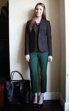 Jacket: Theory Blouse: Ann Taylor (similar) Pants: Banana Republic Bag: Michael Kors (similar) Shoes: Cole Haan Necklace: Bohypsy