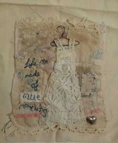 """Emily Henson textile art embroidery dress """"life is made of little moments"""" www.facebook.com/bibliboo"""