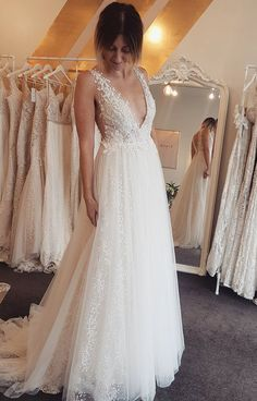 modern beach wedding dresses with flare, simple v neck backless bridal gowns, unique a line wedding dresses with sequins #bride #wedding