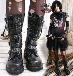 Visual Kei/Goth/CYBER 5-strap BOOT 11/11.5 ASH BLACK 45