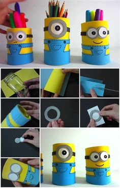 How to Make Minion Pencil Holders | UsefulDIY.com                                                                                                                                                                                 More