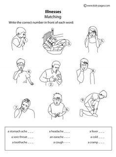 Kids Pages - Illnesses Matching B&W: