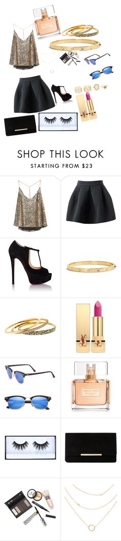 """""""Untitled #113"""" by brunagzilli on Polyvore featuring Christian Louboutin, Kate Spade, Michael Kors, Yves Saint Laurent, Ray-Ban, Givenchy, Huda Beauty, Dune, Borghese and LULUS"""
