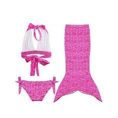 Sweet Halter Bra + Scale Pattern Briefs + Fishtail Skirt Girl's Swimsuit #jewelry, #women, #men, #hats, #watches, #belts, #fashion