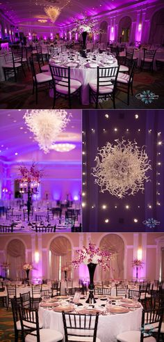 Renaissance Vinoy #wedding #Chiluhy glass chandelier #purple uplighting
