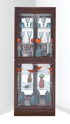 Fresh Curved Front Corner Curio Cabinet