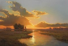 Into the Warm Summer's Eve, 22 x Commission painting by Artist Kevin Courter Landscape Art, Landscape Paintings, Landscape Photography, Sky Painting, Watercolor Paintings, Fantasy Paintings, Sky And Clouds, Nocturne, Beautiful Paintings