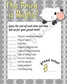 Baby Shower Game - Price is Right - SHEEP Theme - YELLOW Version