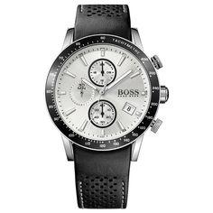 Hugo Boss Men's Chronograph Rafale Black Leather Strap Watch 1513403 In White/ Black Hugo By Hugo Boss, Cool Watches, Watches For Men, Men's Watches, Rugged Watches, Wrist Watches, Fashion Watches, Jewelry Watches, Daniel Wellington
