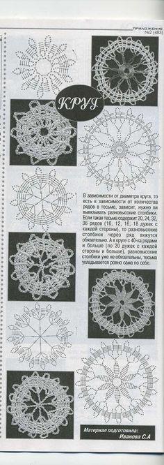 Crochet Bruges motivi rotondi