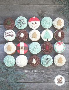 Crave Cupcakes Holiday Menu 2014  We believe fresh baked goods are essential for the holiday season.  Our 2014 menu us brimming with fresh baked cupcakes, cookies, bars and cakes to make all your gatherings and gifting merry and bright.
