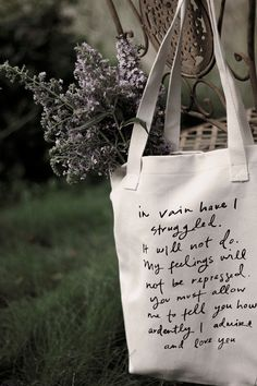 Mr. Darcy Proposal tote bag -  Jane Austen - back to school. $17.00, via Etsy. I NEED THIS!