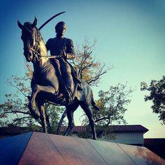 Statue of Juan Seguin, hero of the Texas Revolution, in Central Park, #Seguin, #Texas.