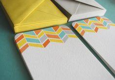 LIMITED Chevron pattern flat notecards, set of 10