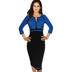 Nice-forever Spring Work Dress Patchwork Round Neck 3/4 Sleeve Business Fashion Sheath Bodycon Female Casual Pencil Dress B235