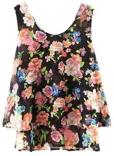 Women Casual Sleeveless Floral Print Pullover Layered Chiffon Blouse.Check more from www.oasap.com .