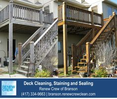 http://www.renewcrewclean.com/services/wood-deck-pressure-washing – Yes, we regularly clean 2-story and 3-story decks and decks with stairs. Renew Crew of Branson has all the equipment needed to get a uniform clean and color for your entire deck. We serve Branson and surrounding areas. Free estimates.