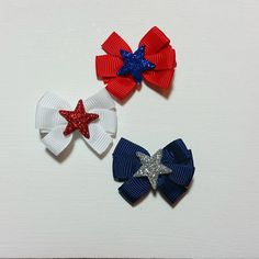 4th of July Star Bow  Redwhiteblue hair bow  4th of july   Use promo code PINTEREST for a special discount.