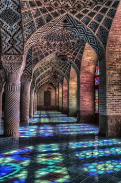 Nasir-ol-Mulk mosque in Shiraz - IRAN. There is the most beautiful place in world I ever seen. There is full of Colors and Lights everywhere inside main Hall. If you decide to travel to IRAN - SHIRAZ , just write me an email to Ramin.rahmani.na@gmail.com . I can Guide you there and plan to one day photography there. I'm sure you can shoot some great architecture Photos in Shiraz.