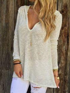 Beige V Neck Hooded Long Sleeve Sweater