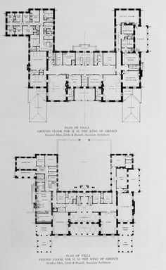 Floor plans for a Villa for the king of Greece Architecture Mapping, Architecture Plan, House Plans Mansion, House Floor Plans, Villa Plan, Architectural Floor Plans, Vintage House Plans, Dream House Exterior, House Layouts