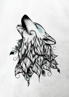 wolf wolves animal feathers indian boho bohemian deco blue grey Animals