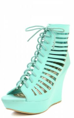 Bamboo Charli-32 Lace Up Caged Wedges