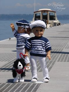 Meridian, PDF Doll Clothes a nautical inspired short-sleeved sweater knitting pattern for American Girl/Boy Dolls by Debonair Designs