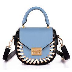 Women Leather Saddle Bags Knitting Panelled Lock Handbags Ladies Crossbody Shoulder Bags Fashion Messenger Bags Monederos Bolso