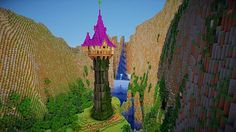 Tangled: Rapunzel's Tower Minecraft Disney Minecraft, Minecraft Plans, Minecraft City, Amazing Minecraft, Minecraft Construction, Minecraft Tutorial, Minecraft Blueprints, Minecraft Pixel Art, Minecraft Crafts