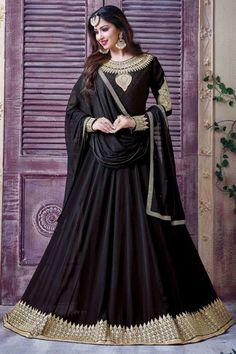 Black Georgette Anarkali Churidar Suit With Dupatta(DMV14575) http://www.andaazfashion.co.uk/salwar-kameez/anarkali-suits/festivalwear
