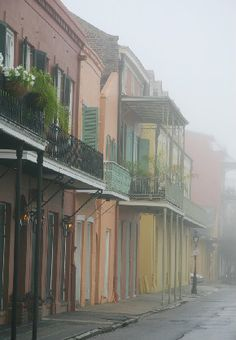 Chartres St. today in the fog.