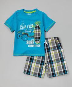 42d0ab0d3 Hawaiian 'Wave Rider' Tee & Plaid Shorts - Toddler by Longstreet #zulily