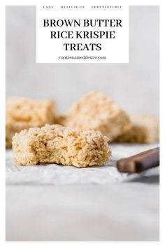 These easy Brown Butter Rice Krispie treats have that salty-sweet nutty brown butter flavor with pockets of gooey marshmallow that make them out-of-this-world amazing! Brownie Desserts, Oreo Dessert, Mini Desserts, Easy Cookie Recipes, Best Dessert Recipes, Sweet Recipes, Cheap Recipes, Baking Recipes, Rice Krispy Treats Recipe