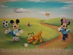 Minnie coming up the path and wonders what Mickey & Pluto are up to