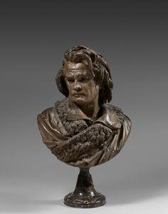 Albert-Ernest Carrier-Belleuse Anizy-le-Château, 1824 – Sèvres, 1887 Buste de Beethoven Terre cuite patinée Signée 'A. CARRIER BELLEUSE' au dos