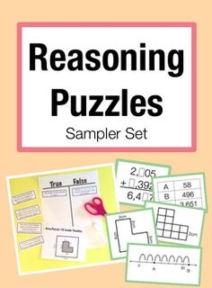 FREE Reasoning Puzzles Sampler: Activities for Math Talk (Gr. 2-4) Increase student to student math talk in the classroom! Try out these 5 puzzles for: addition, place value, perimeter, area and multiplication.