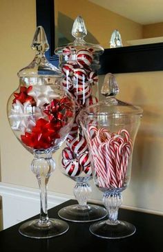 Super Easy Inexpensive Decor Ideas for Christmas Love apothecary jars with christmas colors in them!Love apothecary jars with christmas colors in them! Coastal Christmas, Noel Christmas, Winter Christmas, All Things Christmas, Christmas Items, Thanksgiving Holiday, Christmas Entryway, Christmas Design, Christmas Colors